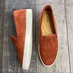 BIRDIES The Swift Suede Leather Slip On Loafer Sneakers in Rust Burnt Orange 5